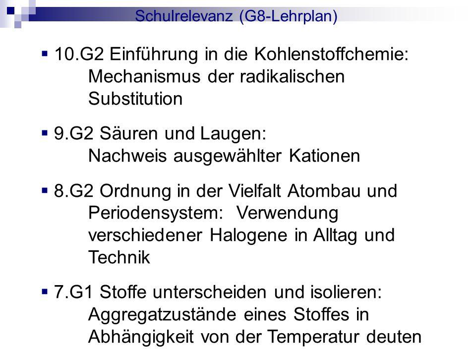  10.G2 Einführung in die Kohlenstoffchemie: Mechanismus der radikalischen Substitution  9.G2 Säuren und Laugen: Nachweis ausgewählter Kationen  8.G2 Ordnung in der Vielfalt Atombau und Periodensystem: Verwendung verschiedener Halogene in Alltag und Technik  7.G1 Stoffe unterscheiden und isolieren: Aggregatzustände eines Stoffes in Abhängigkeit von der Temperatur deuten Schulrelevanz (G8-Lehrplan)