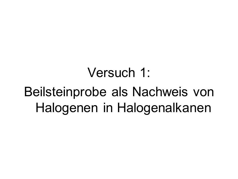 Versuch 1: Beilsteinprobe als Nachweis von Halogenen in Halogenalkanen