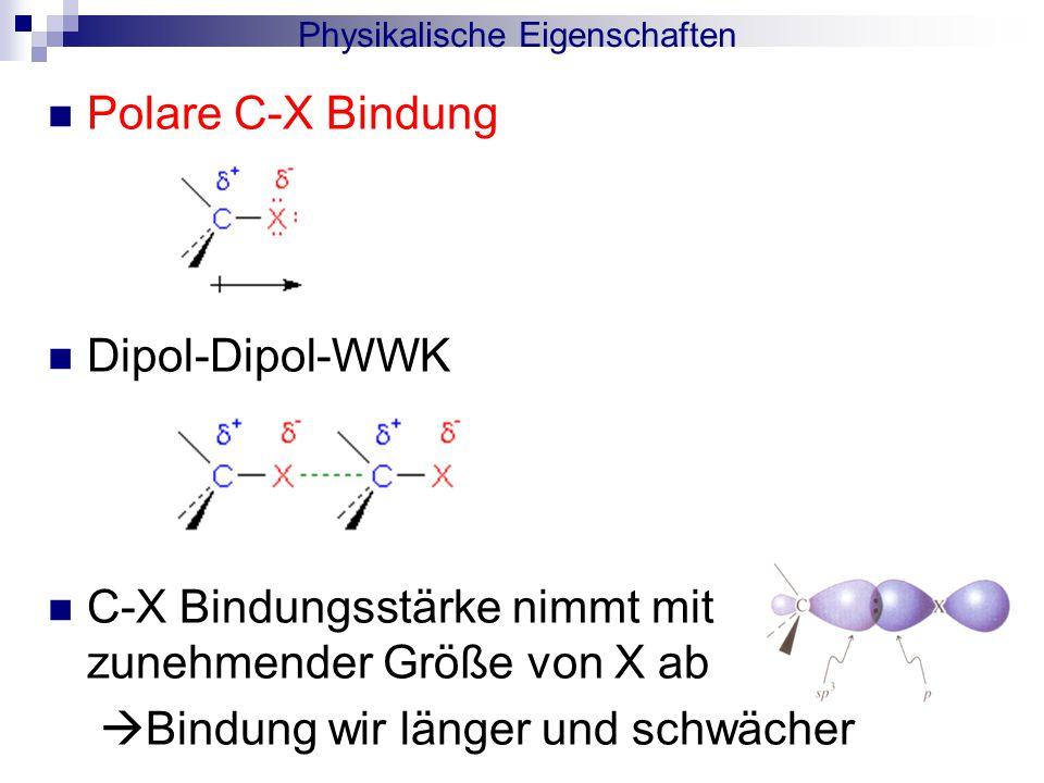 Polare C-X Bindung Dipol-Dipol-WWK C-X Bindungsstärke nimmt mit zunehmender Größe von X ab  Bindung wir länger und schwächer Physikalische Eigenschaften