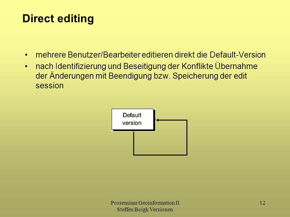 Proseminar Geoinformation II Steffen Boigk Versionen 12 Direct editing mehrere Benutzer/Bearbeiter editieren direkt die Default-Version nach Identifizierung und Beseitigung der Konflikte Übernahme der Änderungen mit Beendigung bzw.