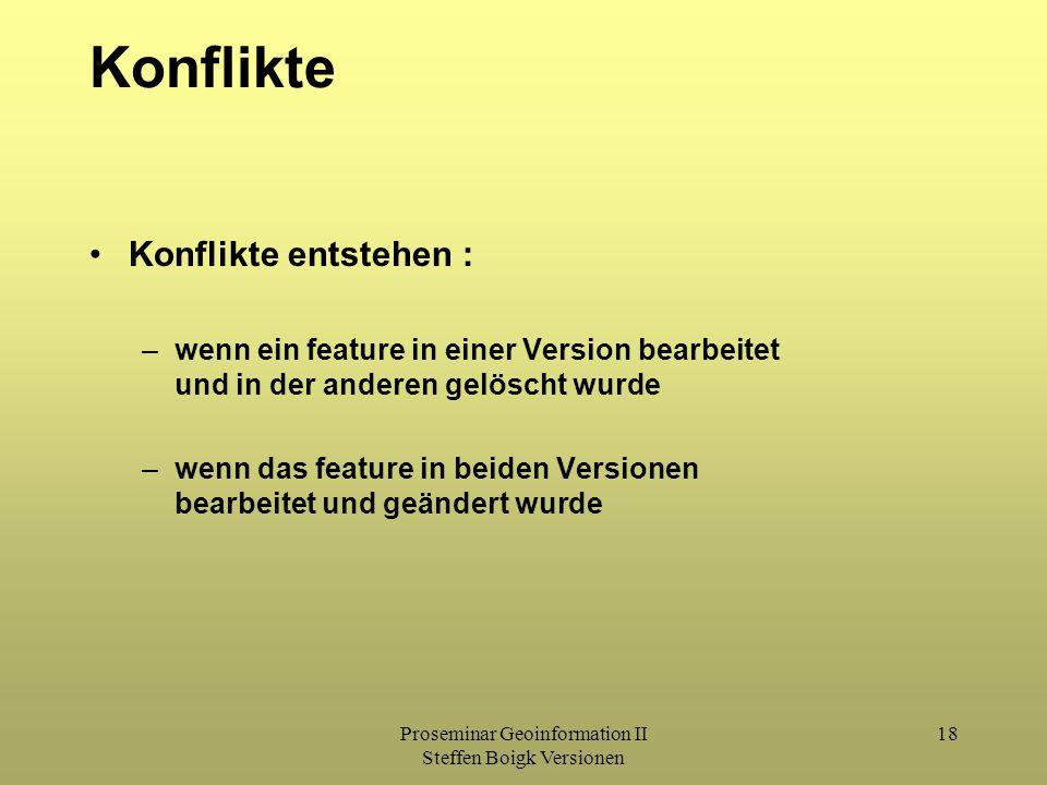 Proseminar Geoinformation II Steffen Boigk Versionen 18 Konflikte Konflikte entstehen : –wenn ein feature in einer Version bearbeitet und in der anderen gelöscht wurde –wenn das feature in beiden Versionen bearbeitet und geändert wurde