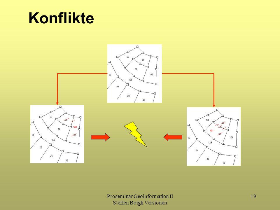 Proseminar Geoinformation II Steffen Boigk Versionen 19 Konflikte