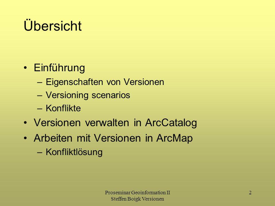 Proseminar Geoinformation II Steffen Boigk Versionen 2 Übersicht Einführung –Eigenschaften von Versionen –Versioning scenarios –Konflikte Versionen verwalten in ArcCatalog Arbeiten mit Versionen in ArcMap –Konfliktlösung