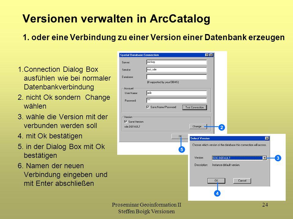 Proseminar Geoinformation II Steffen Boigk Versionen 24 Versionen verwalten in ArcCatalog 1.Connection Dialog Box ausfühlen wie bei normaler Datenbankverbindung 2.