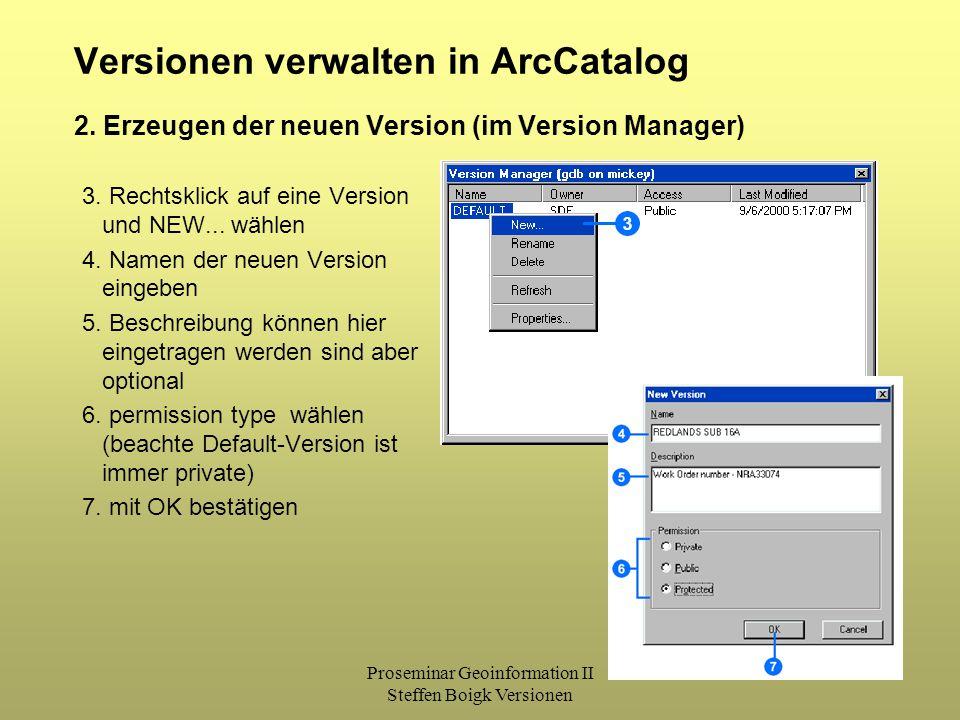 Proseminar Geoinformation II Steffen Boigk Versionen 25 Versionen verwalten in ArcCatalog 3. Rechtsklick auf eine Version und NEW... wählen 4. Namen d