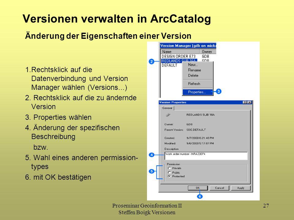 Proseminar Geoinformation II Steffen Boigk Versionen 27 Versionen verwalten in ArcCatalog 1.Rechtsklick auf die Datenverbindung und Version Manager wählen (Versions...) 2.