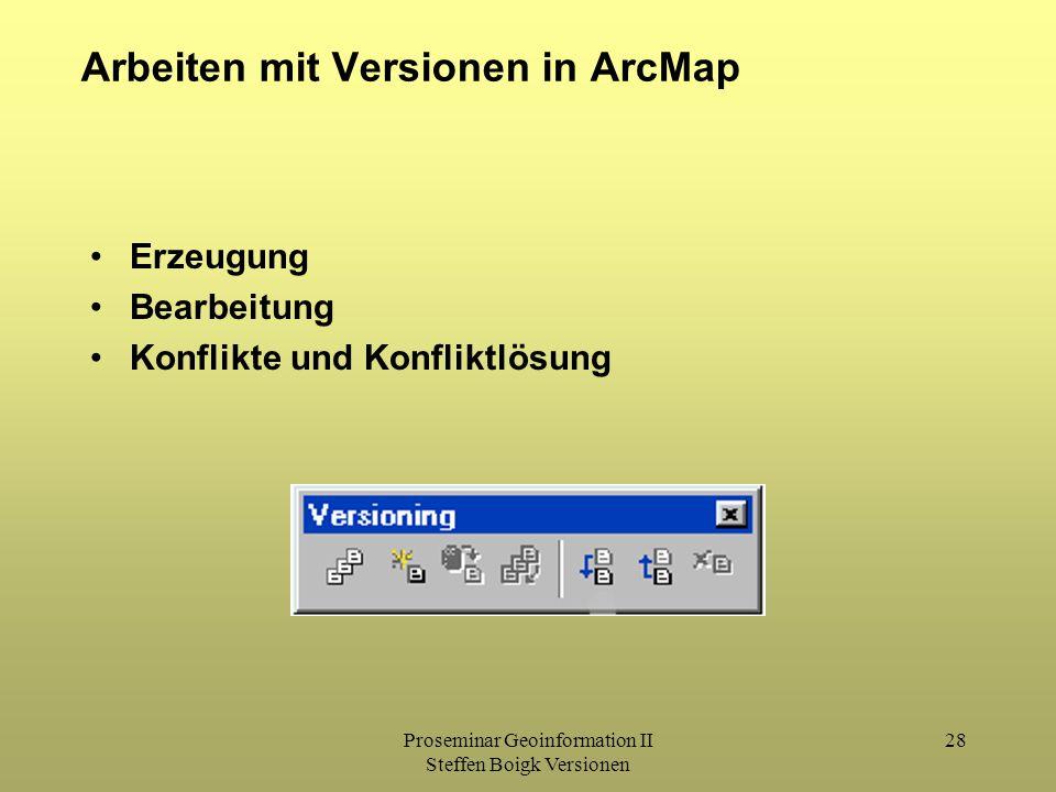 Proseminar Geoinformation II Steffen Boigk Versionen 28 Arbeiten mit Versionen in ArcMap Erzeugung Bearbeitung Konflikte und Konfliktlösung