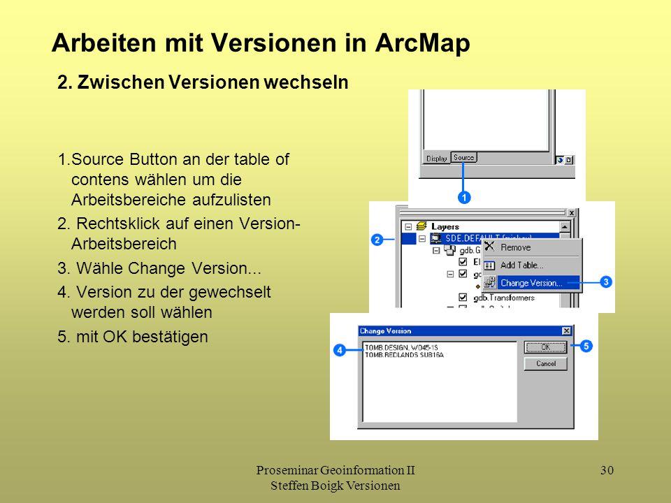 Proseminar Geoinformation II Steffen Boigk Versionen 30 Arbeiten mit Versionen in ArcMap 2. Zwischen Versionen wechseln 1.Source Button an der table o