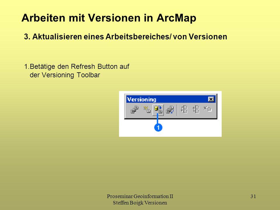 Proseminar Geoinformation II Steffen Boigk Versionen 31 Arbeiten mit Versionen in ArcMap 1.Betätige den Refresh Button auf der Versioning Toolbar 3.