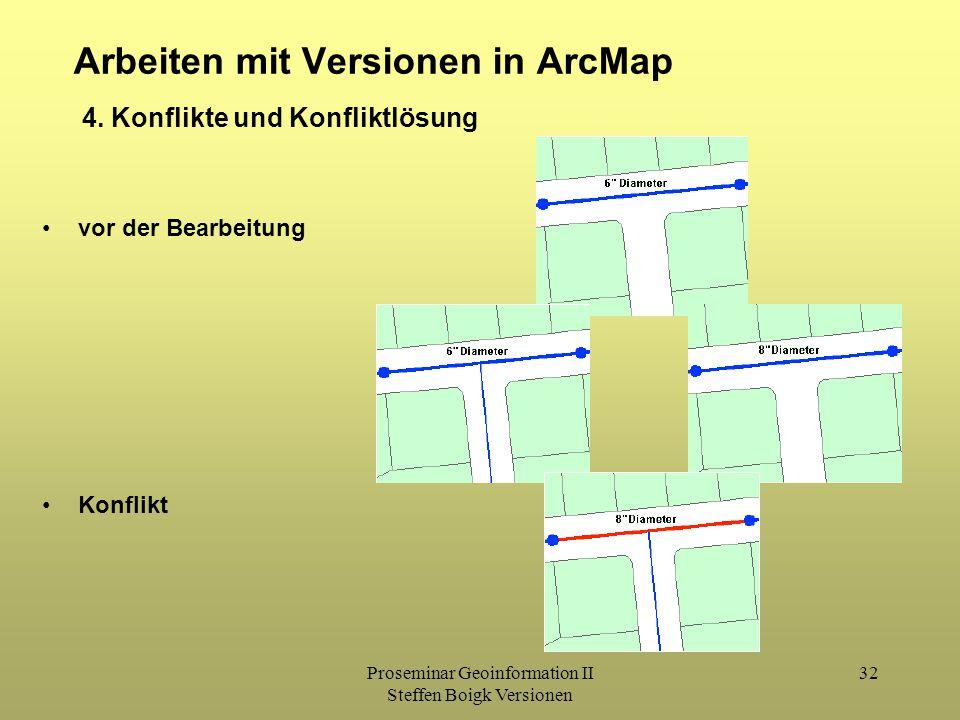 Proseminar Geoinformation II Steffen Boigk Versionen 32 Arbeiten mit Versionen in ArcMap 4. Konflikte und Konfliktlösung vor der Bearbeitung Konflikt
