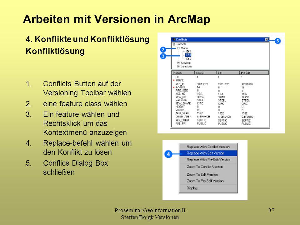 Proseminar Geoinformation II Steffen Boigk Versionen 37 Arbeiten mit Versionen in ArcMap 4. Konflikte und Konfliktlösung Konfliktlösung 1.Conflicts Bu
