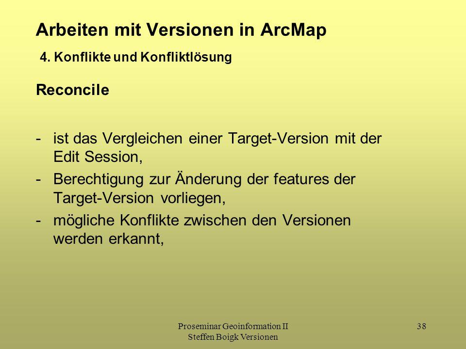 Proseminar Geoinformation II Steffen Boigk Versionen 38 Arbeiten mit Versionen in ArcMap 4. Konflikte und Konfliktlösung Reconcile -ist das Vergleiche