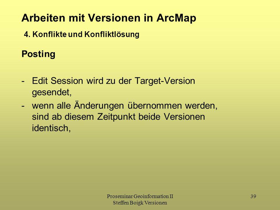 Proseminar Geoinformation II Steffen Boigk Versionen 39 Arbeiten mit Versionen in ArcMap Posting -Edit Session wird zu der Target-Version gesendet, -wenn alle Änderungen übernommen werden, sind ab diesem Zeitpunkt beide Versionen identisch, 4.