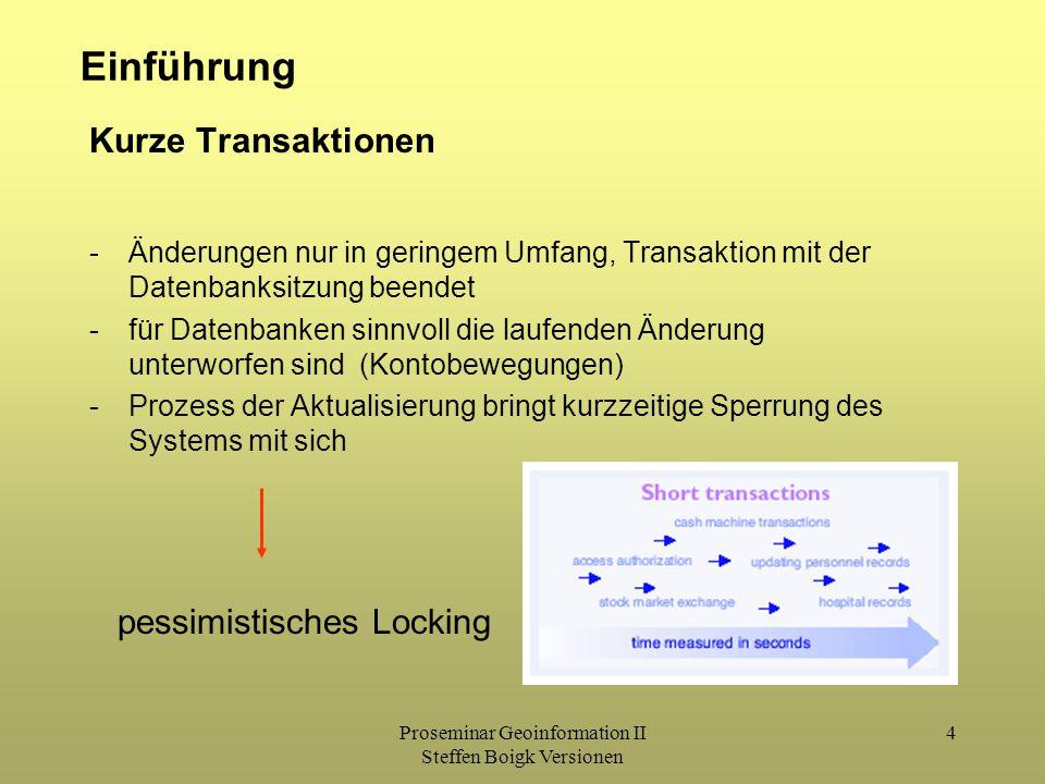 Proseminar Geoinformation II Steffen Boigk Versionen 4 Einführung Kurze Transaktionen -Änderungen nur in geringem Umfang, Transaktion mit der Datenbanksitzung beendet -für Datenbanken sinnvoll die laufenden Änderung unterworfen sind (Kontobewegungen) -Prozess der Aktualisierung bringt kurzzeitige Sperrung des Systems mit sich pessimistisches Locking