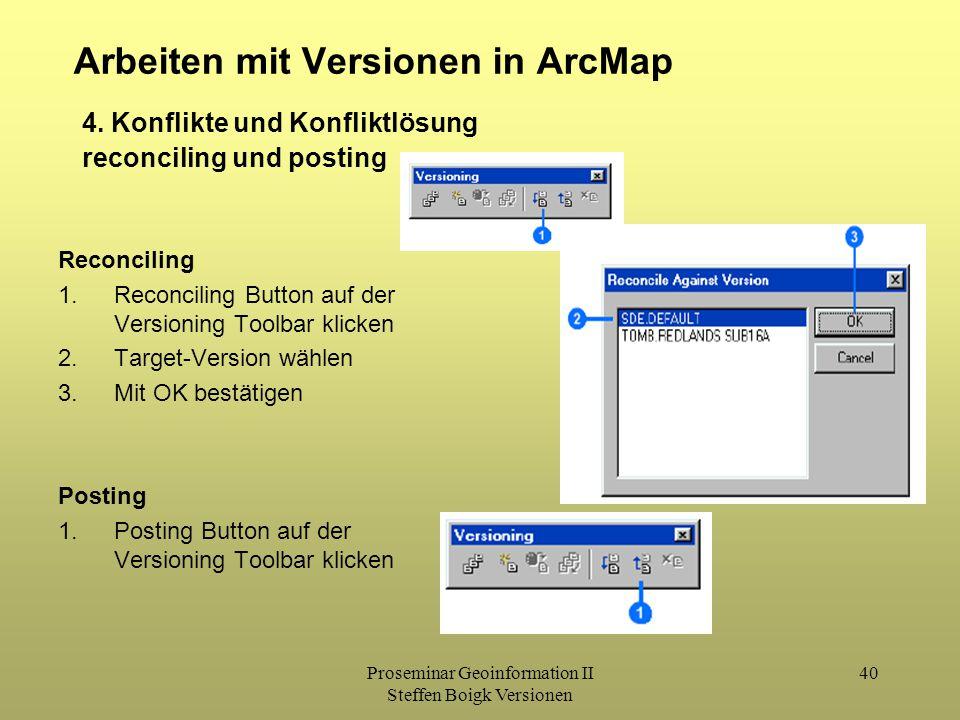 Proseminar Geoinformation II Steffen Boigk Versionen 40 Arbeiten mit Versionen in ArcMap 4. Konflikte und Konfliktlösung reconciling und posting Recon