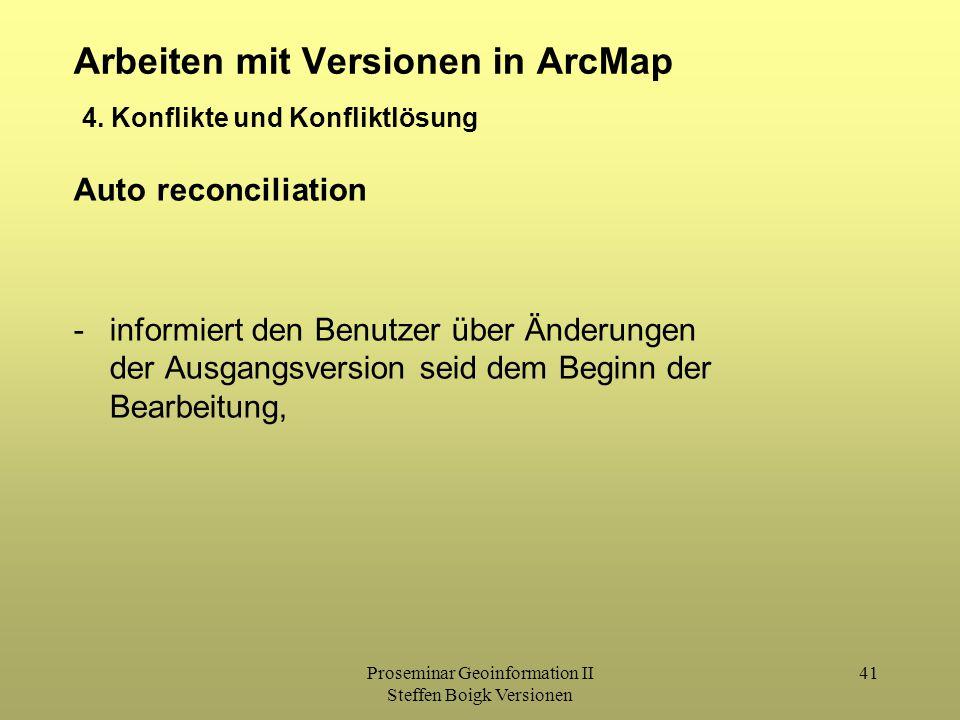 Proseminar Geoinformation II Steffen Boigk Versionen 41 Arbeiten mit Versionen in ArcMap 4. Konflikte und Konfliktlösung Auto reconciliation -informie