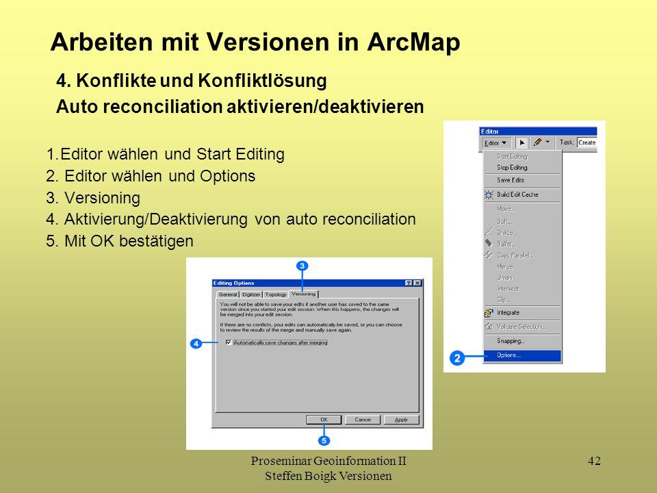 Proseminar Geoinformation II Steffen Boigk Versionen 42 Arbeiten mit Versionen in ArcMap 4. Konflikte und Konfliktlösung Auto reconciliation aktiviere
