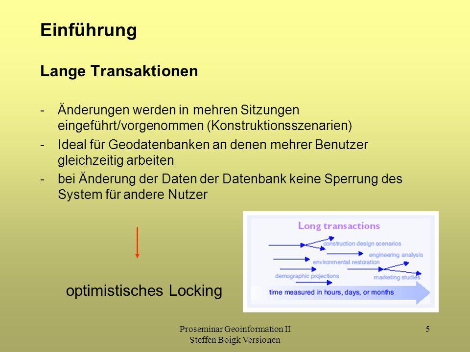 Proseminar Geoinformation II Steffen Boigk Versionen 5 Einführung Lange Transaktionen -Änderungen werden in mehren Sitzungen eingeführt/vorgenommen (Konstruktionsszenarien) -Ideal für Geodatenbanken an denen mehrer Benutzer gleichzeitig arbeiten -bei Änderung der Daten der Datenbank keine Sperrung des System für andere Nutzer optimistisches Locking