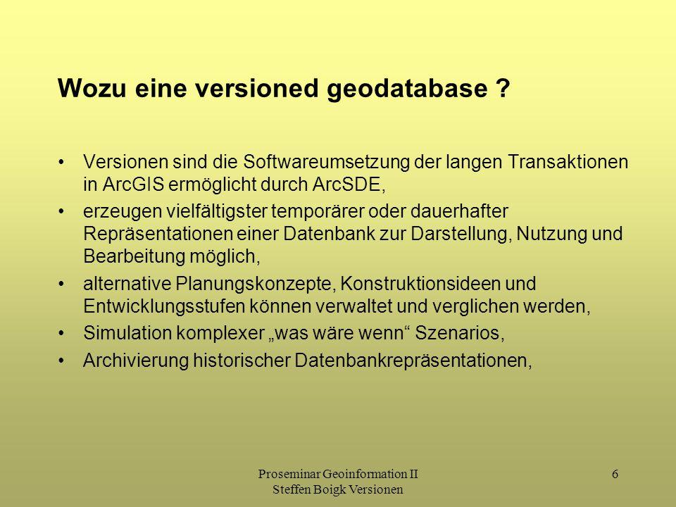 Proseminar Geoinformation II Steffen Boigk Versionen 6 Wozu eine versioned geodatabase ? Versionen sind die Softwareumsetzung der langen Transaktionen