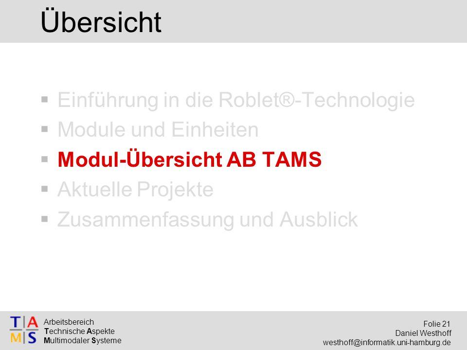 Arbeitsbereich Technische Aspekte Multimodaler Systeme Folie 21 Daniel Westhoff westhoff@informatik.uni-hamburg.de Übersicht  Einführung in die Roble