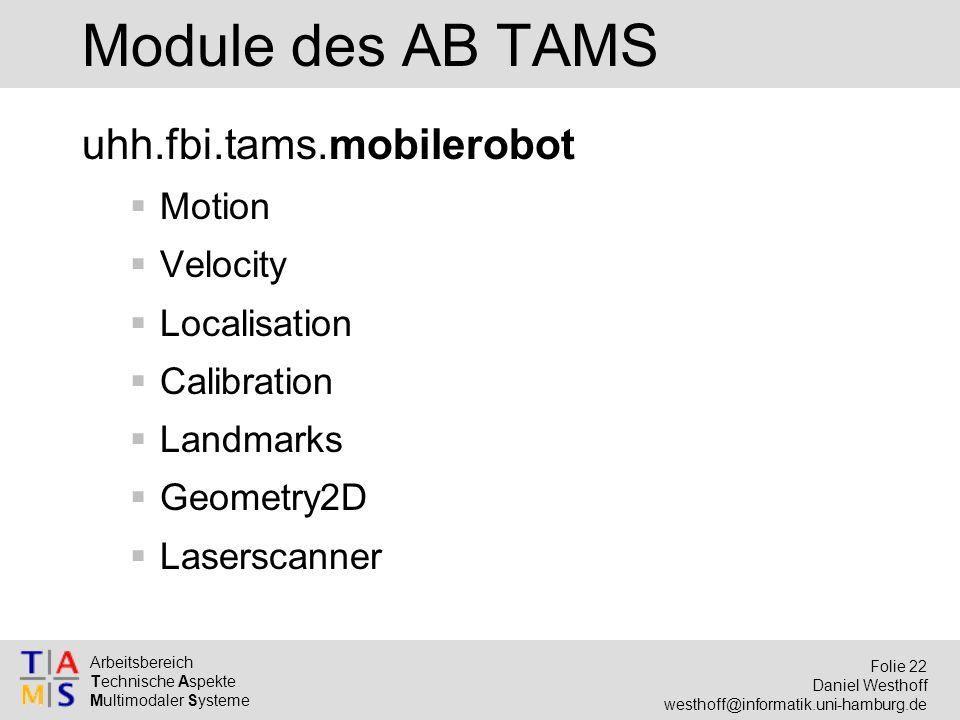 Arbeitsbereich Technische Aspekte Multimodaler Systeme Folie 22 Daniel Westhoff westhoff@informatik.uni-hamburg.de Module des AB TAMS uhh.fbi.tams.mobilerobot  Motion  Velocity  Localisation  Calibration  Landmarks  Geometry2D  Laserscanner