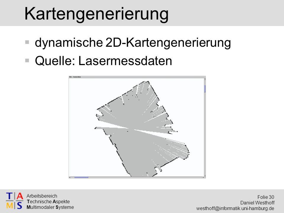 Arbeitsbereich Technische Aspekte Multimodaler Systeme Folie 30 Daniel Westhoff westhoff@informatik.uni-hamburg.de Kartengenerierung  dynamische 2D-Kartengenerierung  Quelle: Lasermessdaten