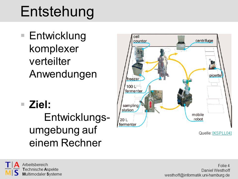 Arbeitsbereich Technische Aspekte Multimodaler Systeme Folie 4 Daniel Westhoff westhoff@informatik.uni-hamburg.de Entstehung  Entwicklung komplexer verteilter Anwendungen  Ziel: Entwicklungs- umgebung auf einem Rechner Quelle: [KSPLL04][KSPLL04]