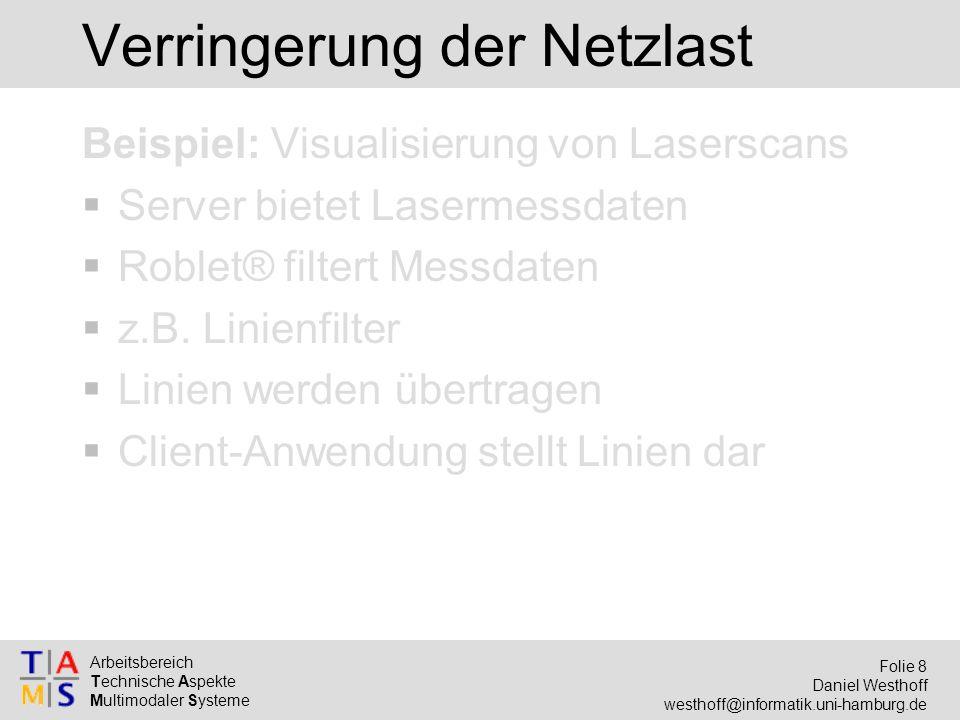 Arbeitsbereich Technische Aspekte Multimodaler Systeme Folie 8 Daniel Westhoff westhoff@informatik.uni-hamburg.de Verringerung der Netzlast Beispiel: Visualisierung von Laserscans  Server bietet Lasermessdaten  Roblet® filtert Messdaten  z.B.