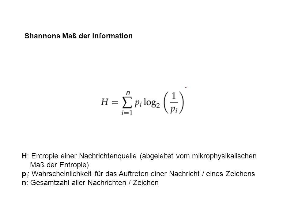 H: Entropie einer Nachrichtenquelle (abgeleitet vom mikrophysikalischen Maß der Entropie) p i : Wahrscheinlichkeit für das Auftreten einer Nachricht