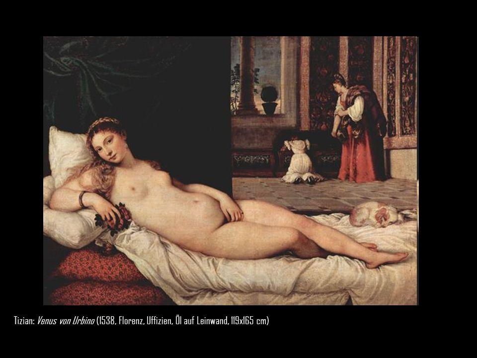 Tizian: Venus von Urbino (1538, Florenz, Uffizien, Öl auf Leinwand, 119x165 cm) 
