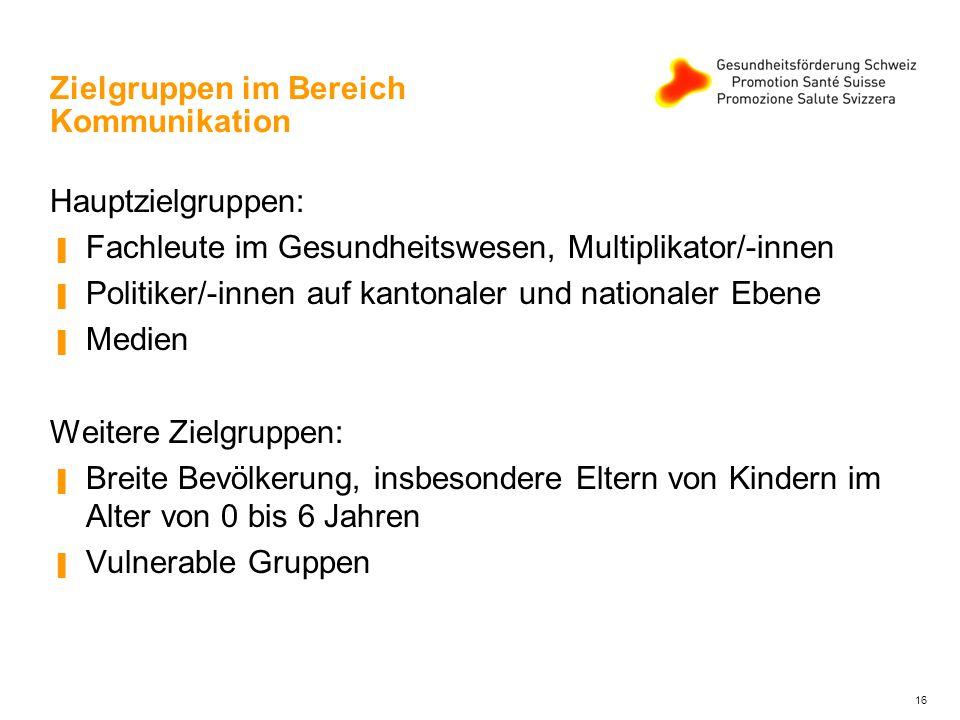 Zielgruppen im Bereich Kommunikation Hauptzielgruppen: ▐ Fachleute im Gesundheitswesen, Multiplikator/-innen ▐ Politiker/-innen auf kantonaler und nat