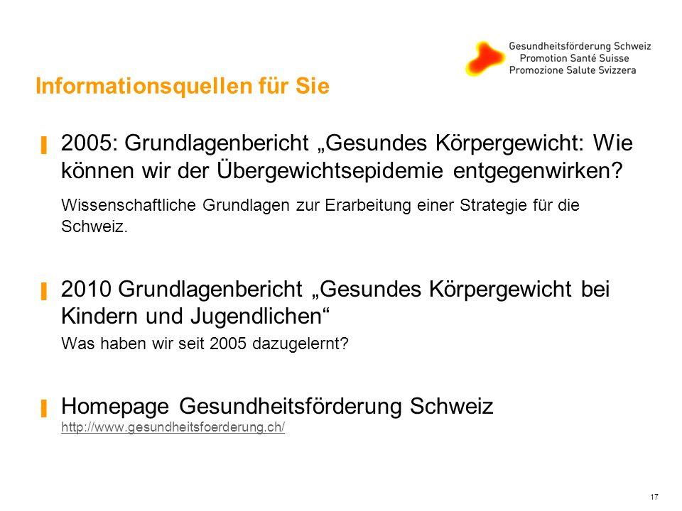 """Informationsquellen für Sie ▐ 2005: Grundlagenbericht """"Gesundes Körpergewicht: Wie können wir der Übergewichtsepidemie entgegenwirken."""
