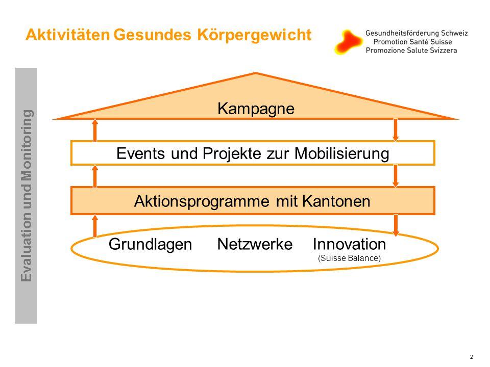 2 Kampagne Events und Projekte zur Mobilisierung Aktionsprogramme mit Kantonen Grundlagen NetzwerkeInnovation (Suisse Balance) Evaluation und Monitoring Aktivitäten Gesundes Körpergewicht