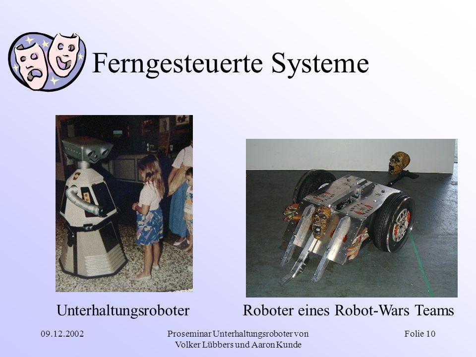 09.12.2002Proseminar Unterhaltungsroboter von Volker Lübbers und Aaron Kunde Folie 10 Ferngesteuerte Systeme UnterhaltungsroboterRoboter eines Robot-W