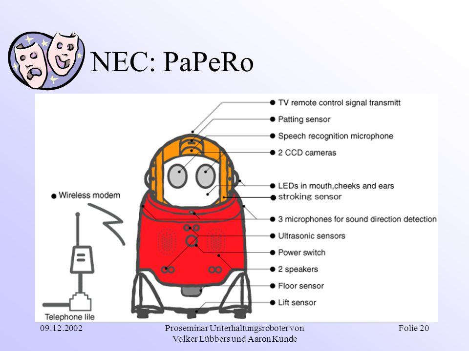 09.12.2002Proseminar Unterhaltungsroboter von Volker Lübbers und Aaron Kunde Folie 20 NEC: PaPeRo