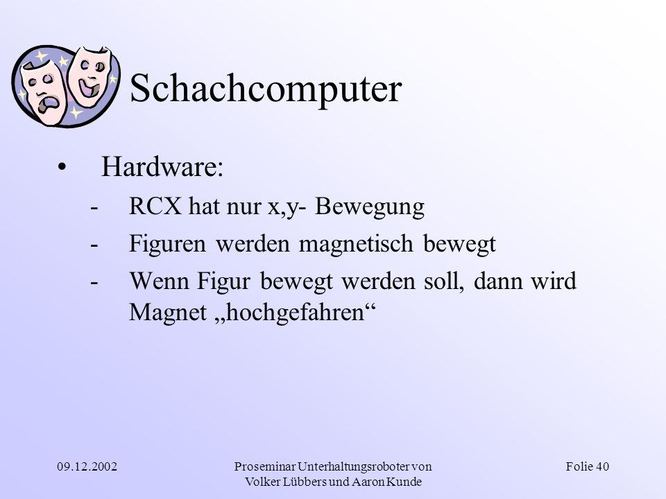 09.12.2002Proseminar Unterhaltungsroboter von Volker Lübbers und Aaron Kunde Folie 40 Schachcomputer Hardware: -RCX hat nur x,y- Bewegung -Figuren wer