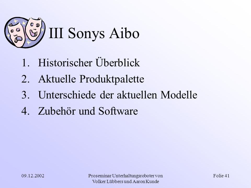 09.12.2002Proseminar Unterhaltungsroboter von Volker Lübbers und Aaron Kunde Folie 41 III Sonys Aibo 1.Historischer Überblick 2.Aktuelle Produktpalett