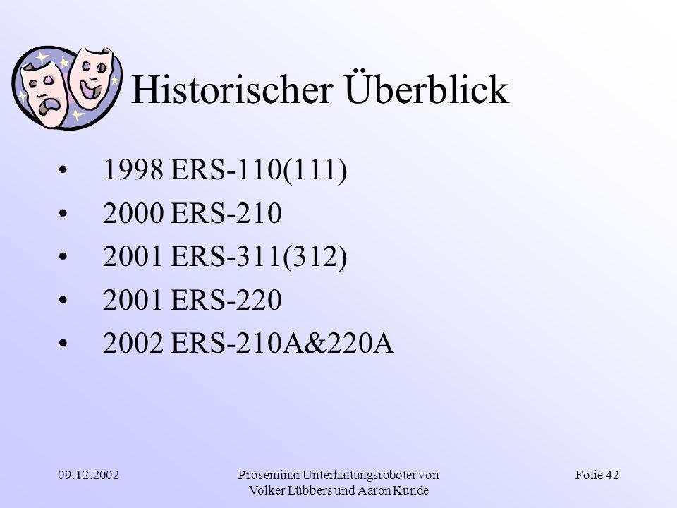 09.12.2002Proseminar Unterhaltungsroboter von Volker Lübbers und Aaron Kunde Folie 42 Historischer Überblick 1998 ERS-110(111) 2000 ERS-210 2001 ERS-3