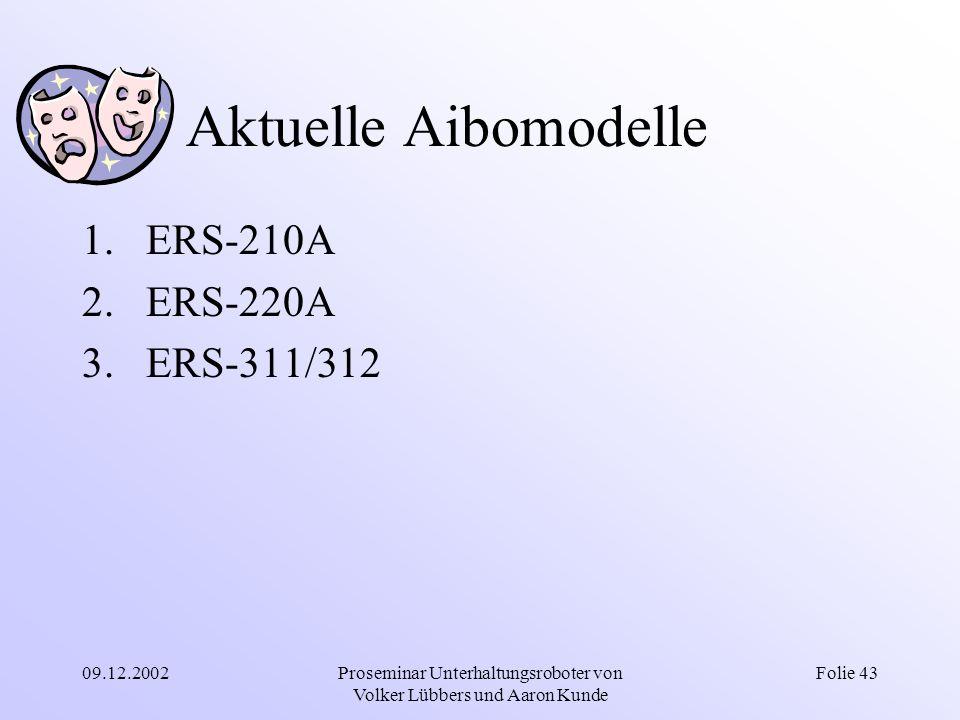 09.12.2002Proseminar Unterhaltungsroboter von Volker Lübbers und Aaron Kunde Folie 43 Aktuelle Aibomodelle 1.ERS-210A 2.ERS-220A 3.ERS-311/312