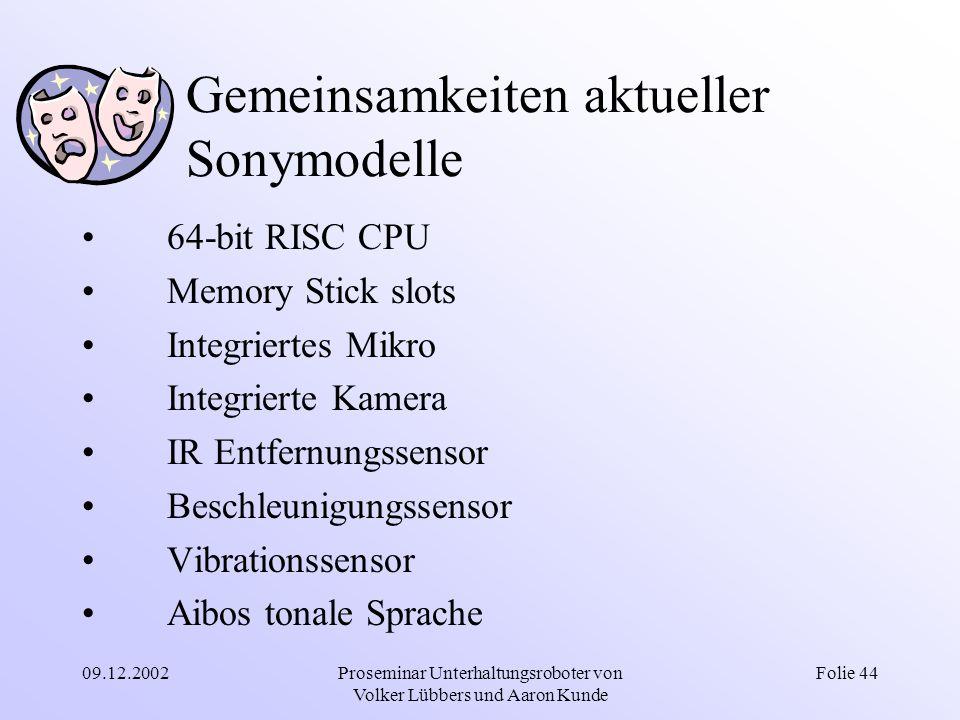 09.12.2002Proseminar Unterhaltungsroboter von Volker Lübbers und Aaron Kunde Folie 44 Gemeinsamkeiten aktueller Sonymodelle 64-bit RISC CPU Memory Sti