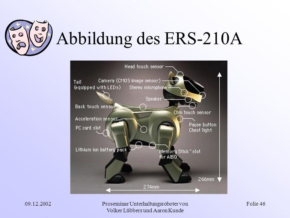 09.12.2002Proseminar Unterhaltungsroboter von Volker Lübbers und Aaron Kunde Folie 46 Abbildung des ERS-210A