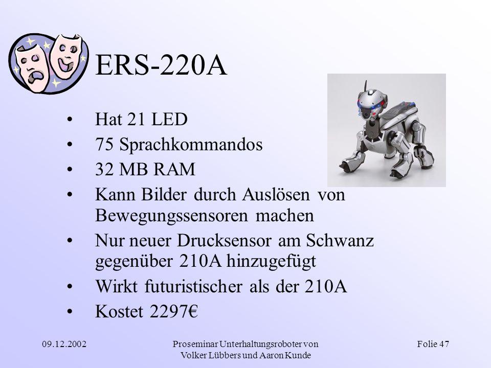 09.12.2002Proseminar Unterhaltungsroboter von Volker Lübbers und Aaron Kunde Folie 47 ERS-220A Hat 21 LED 75 Sprachkommandos 32 MB RAM Kann Bilder dur