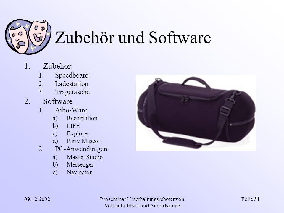 09.12.2002Proseminar Unterhaltungsroboter von Volker Lübbers und Aaron Kunde Folie 51 Zubehör und Software 1.Zubehör: 1.Speedboard 2.Ladestation 3.Tra
