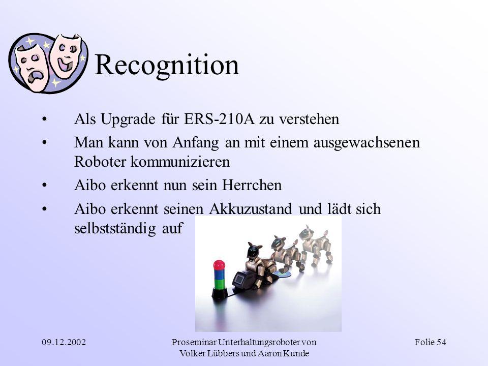 09.12.2002Proseminar Unterhaltungsroboter von Volker Lübbers und Aaron Kunde Folie 54 Recognition Als Upgrade für ERS-210A zu verstehen Man kann von A