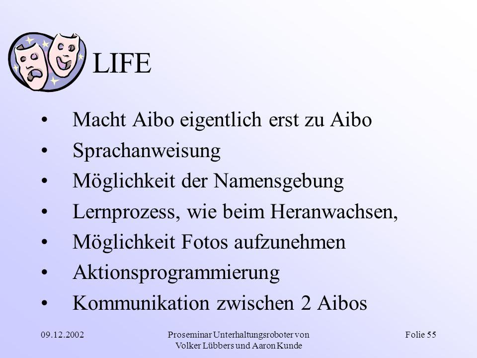 09.12.2002Proseminar Unterhaltungsroboter von Volker Lübbers und Aaron Kunde Folie 55 LIFE Macht Aibo eigentlich erst zu Aibo Sprachanweisung Möglichk