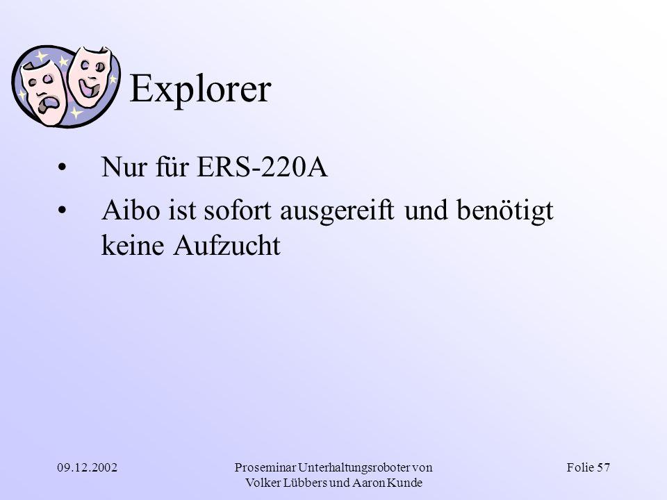 09.12.2002Proseminar Unterhaltungsroboter von Volker Lübbers und Aaron Kunde Folie 57 Explorer Nur für ERS-220A Aibo ist sofort ausgereift und benötig