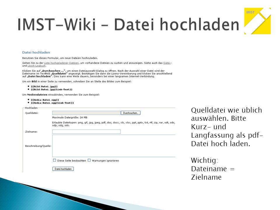Welche Kategorien gibt es im IMST-Wiki bereits?