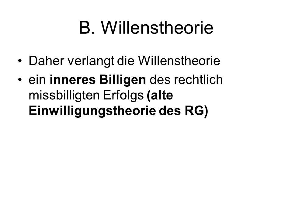 B. Willenstheorie Daher verlangt die Willenstheorie ein inneres Billigen des rechtlich missbilligten Erfolgs (alte Einwilligungstheorie des RG)