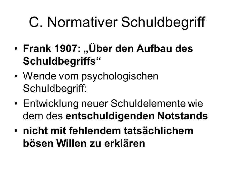 """C. Normativer Schuldbegriff Frank 1907: """"Über den Aufbau des Schuldbegriffs"""" Wende vom psychologischen Schuldbegriff: Entwicklung neuer Schuldelemente"""