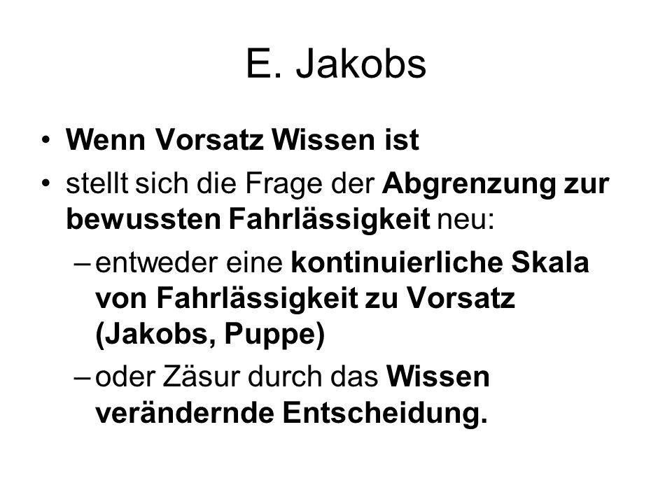 E. Jakobs Wenn Vorsatz Wissen ist stellt sich die Frage der Abgrenzung zur bewussten Fahrlässigkeit neu: –entweder eine kontinuierliche Skala von Fahr